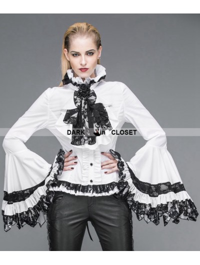 Devil Fashion White Gothic Palace Style Blouse for Women
