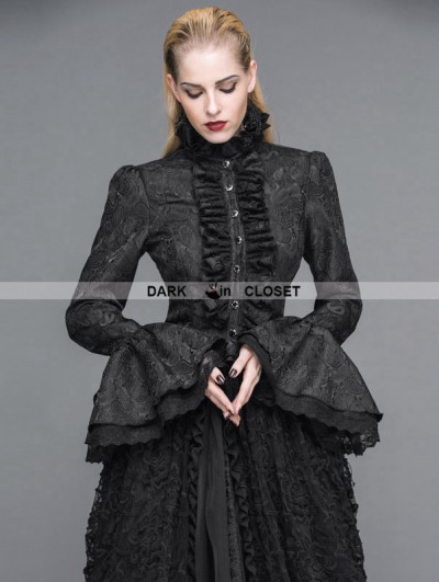 Devil Fashion Black Gothic Palace Style Jacquard Ruffles Blouse for Women