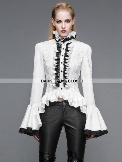Devil Fashion White Gothic Palace Style Jacquard Ruffles Blouse for Women