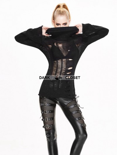 Devil Fashion Black Gothic Hollow-Out Holes Sweater