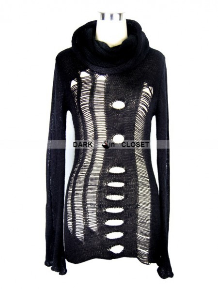 Devil Fashion Black Gothic Hollow-Out Holes Sweater - DarkinCloset.com