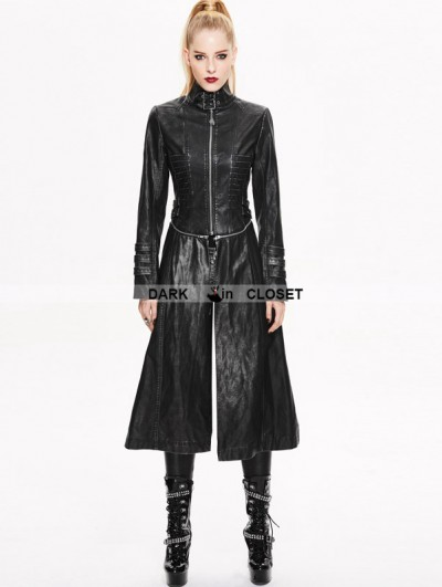Devil Fashion Black and Sliver Gothic Punk Metal PU Coat for Women