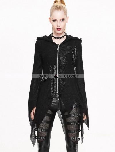 Devil Fashion Black Gothic Punk Asymmetric Hooded Sweater for Women