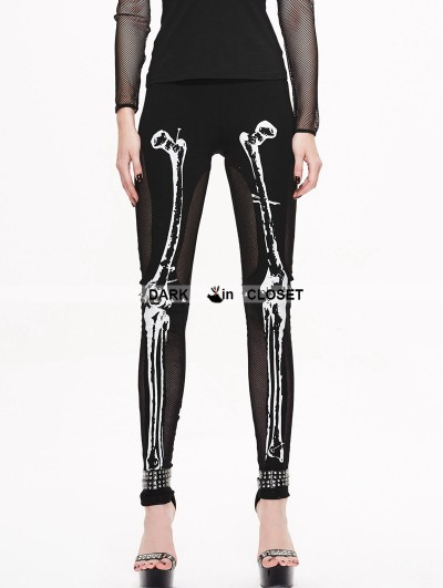 Devil Fashion Black Gothic Skull Pattern Mesh Legging for Women