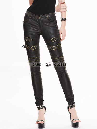 Devil Fashion Black and Bronze Gothic Buckle Belt PU Pants for Women