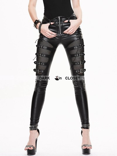 Devil Fashion Black Gothic Buckle Belt Mesh Legging for Women