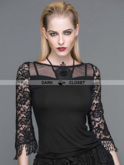 Devil Fashion Black 3/4 Sleeves Gothic Halter Shirt for Women
