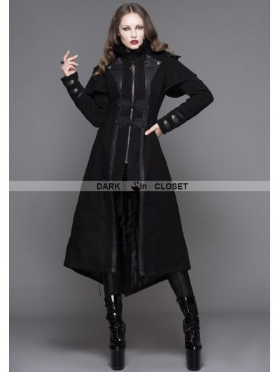 Devil Fashion Black Vintage Gothic Long Cape Design Coat for Women