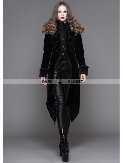 Devil Fashion Black Gothic Palace Style Long Coat for Women