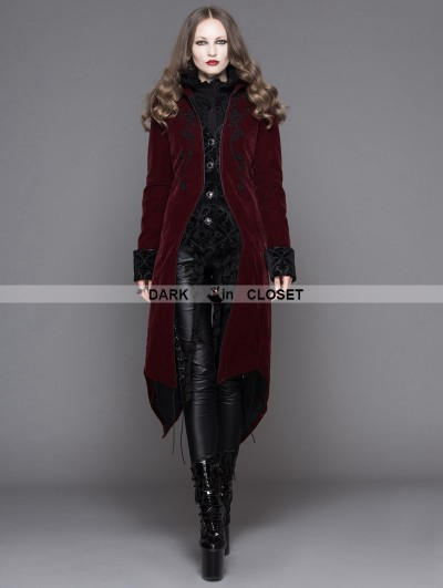 Devil Fashion Wine Red Gothic Palace Style Long Coat for Women