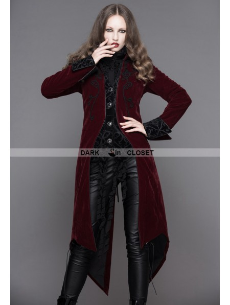 774365e01fd419 ... Devil Fashion Wine Red Gothic Palace Style Long Coat for Women ...