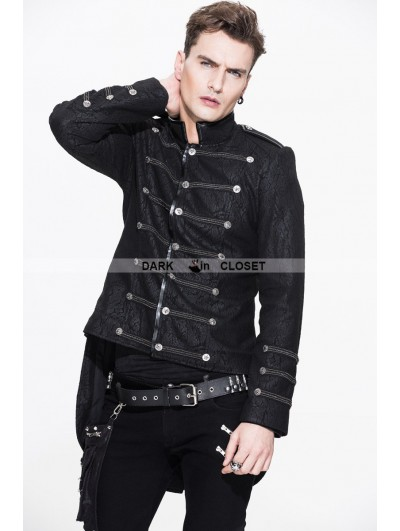 Devil Fashion Black Double-Breasted Gothic Military Style Short Jacket for Men
