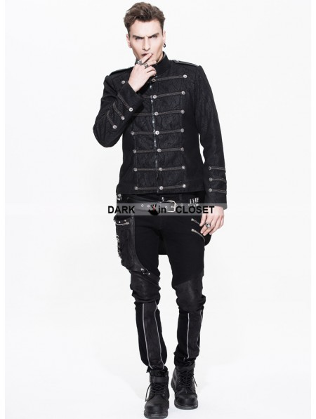 Devil Fashion Black Double-Breasted Gothic Military Style Short ...