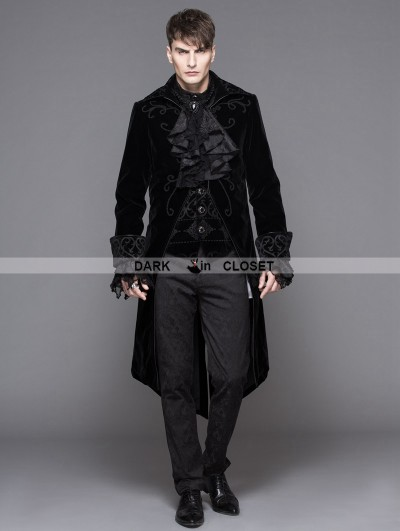 Devil Fashion Black Gothic Palace Style Long Coat for Men