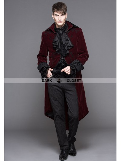 Devil Fashion Wine Red Gothic Palace Style Long Coat for Men
