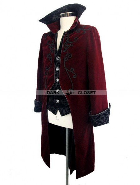 0d8afc5ae90060 ... Devil Fashion Wine Red Gothic Palace Style Long Coat for Men ...
