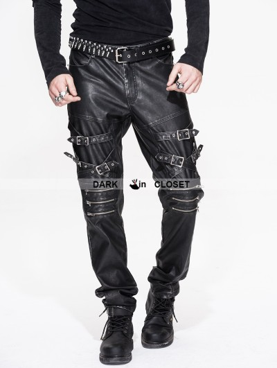 Devil Fashion Black and Sliver Gothic Punk PU Buckle Blet Pants for Men