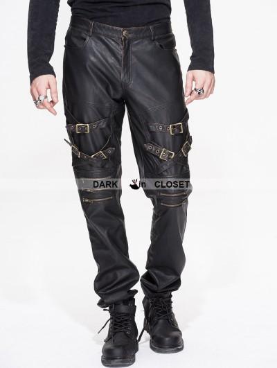 Devil Fashion Black and Bronze Gothic Punk PU Buckle Blet Pants for Men