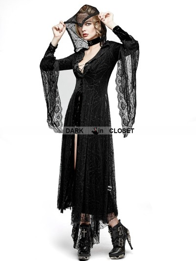 Punk Rave Black Gothic Spider Web Sun Block Long Coat for Women