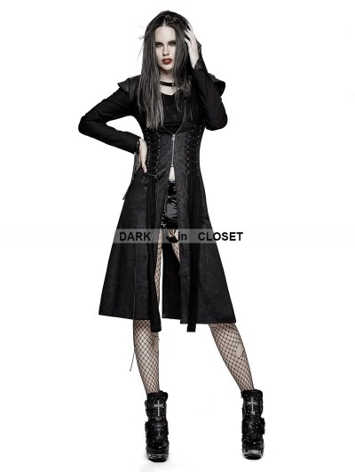 Punk Rave Black Heavy Gothic Punk Fly Sleeve Coat for Women