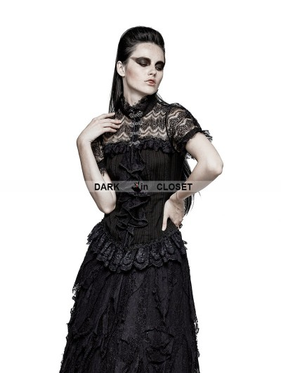 Punk Rave Black Gothic Steampunk Ruffles Shirt for Women