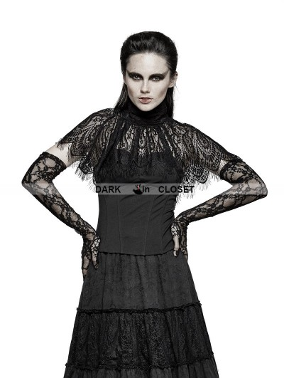Punk Rave Black Asymmetric Cape Style Gothic T-shirt for Women