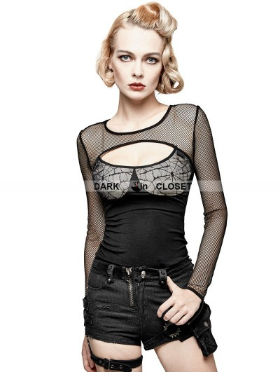 Punk Rave Black Gothic Punk Spider Web Sexy Long T-shirt for Women