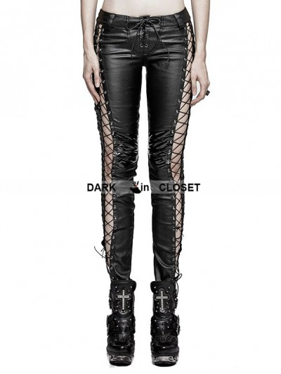 Punk Rave Black Leather Gothic Punk Binding Side Pencil Pants For Women