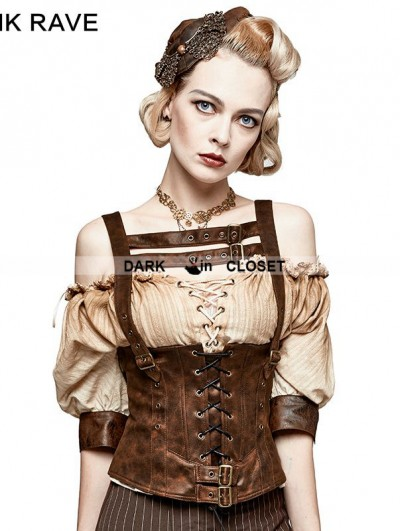 Punk Rave Leather Metal Back Zipper Steampunk Camisole For Women