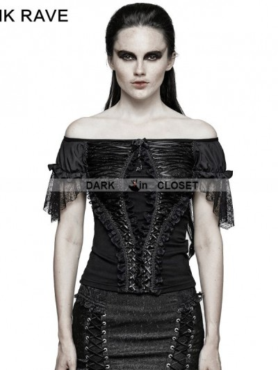 Punk Rave Black Gothic Lace Wide Boat Neck T-shirt For Women