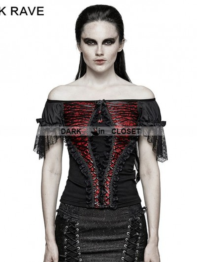 Punk Rave Black and Red Gothic Lace Wide Boat Neck T-shirt For Women