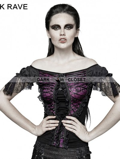 Punk Rave Black and Violet Gothic Lace Wide Boat Neck T-shirt For Women