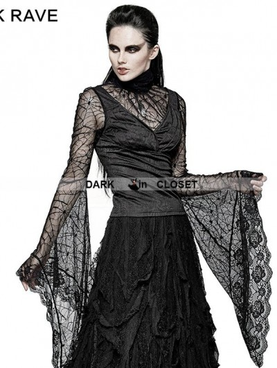 Punk Rave Black Gothic High Collar Spider Web Flare Sleeves T-shirt For Women