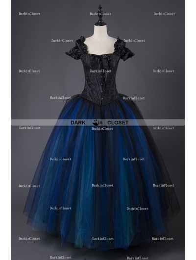 Rose Blooming Romantic Gothic Cap Sleeves Blue Corset Long Prom Party Dress