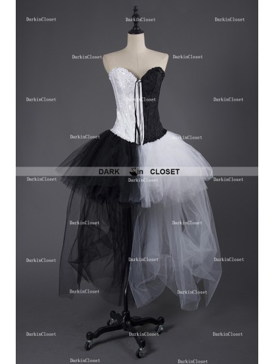 Rose Blooming Black and White Alternative Gothic Punk Corset Prom Party Dress