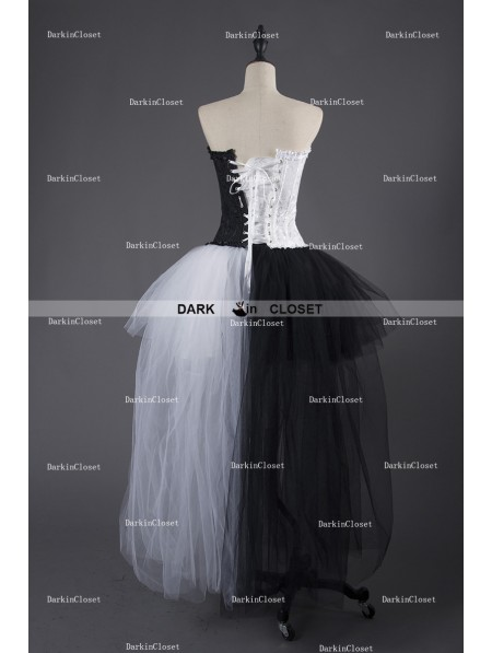 Rose Blooming Black And White Alternative Gothic Punk Corset Prom
