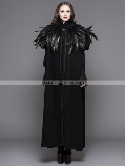 Devil Fashion Black Gothic Removable Dark Green Feather Hooded Cape for Women