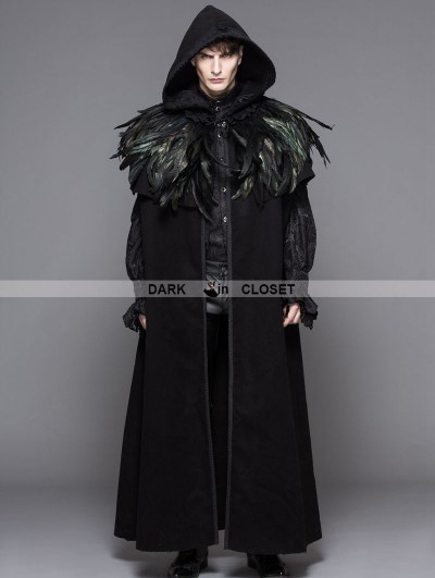 Devil Fashion Black Gothic Removable Dark Green Feather Hooded Cape for Men