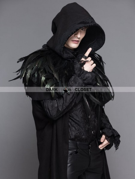 Devil Fashion Black Gothic Removable Dark Green Feather