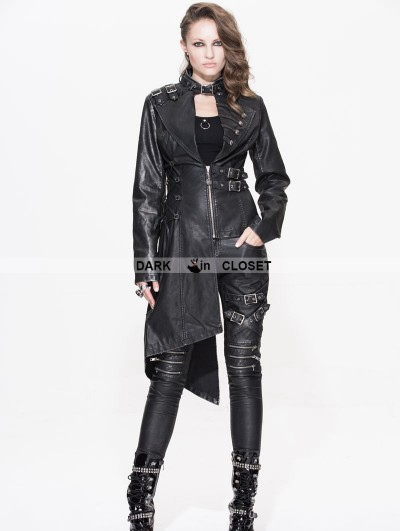 Devil Fashion Black Gothic Punk Old Style Asymmetric Jacket For Women