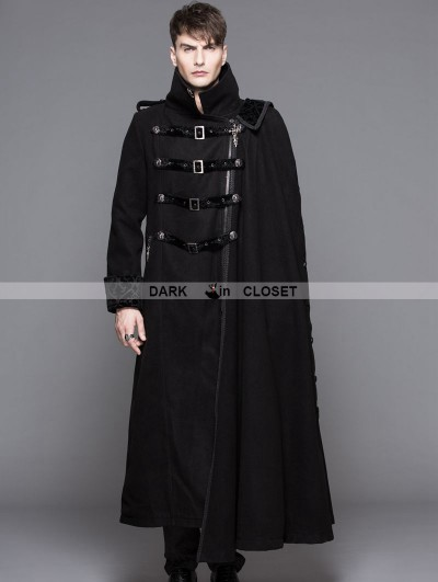 Devil Fashion Black Gothic Punk Asymmetric Military Jacket For Men
