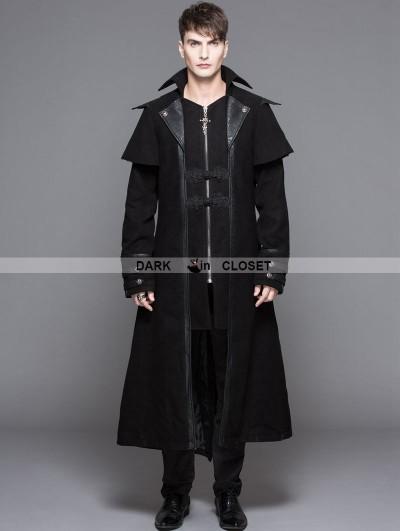 Devil Fashion Black Vintage Gothic Long Cape Design Coat For Men