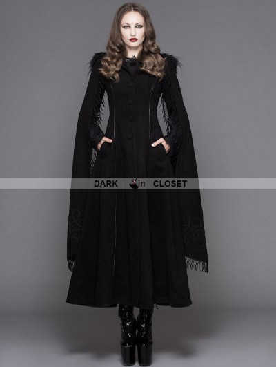 Devil Fashion Black Gothic Long Hooded Cape Coat For Women
