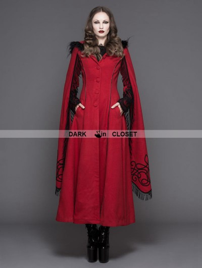 Devil Fashion Red Gothic Long Hooded Cape Coat For Women