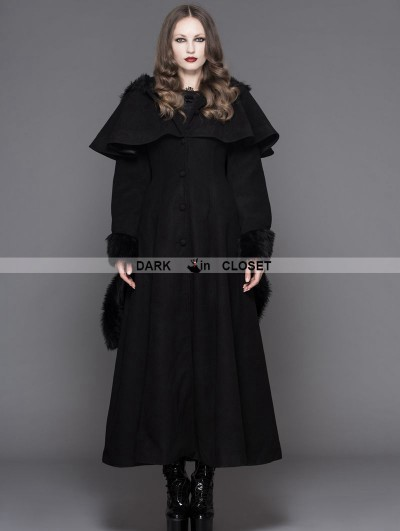 Devil Fashion Black Gothic Dovetail Hooded Cape Long Coat For Women
