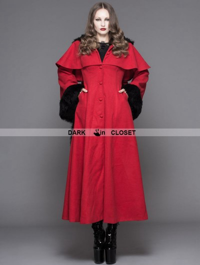 Devil Fashion Red Gothic Dovetail Hooded Cape Long Coat For Women