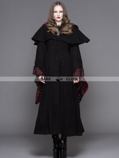 Devil Fashion Black and Red Stripe Cuffs Gothic Dovetail Cape Long Jacket For Women
