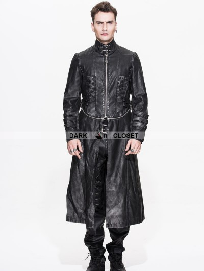 Devil Fashion Black and Sliver Gothic Punk Long to Short Metal PU Coat for Men