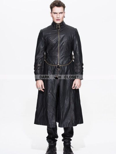 Devil Fashion Black and Bronze Gothic Punk Long to Short Metal PU Coat for Men