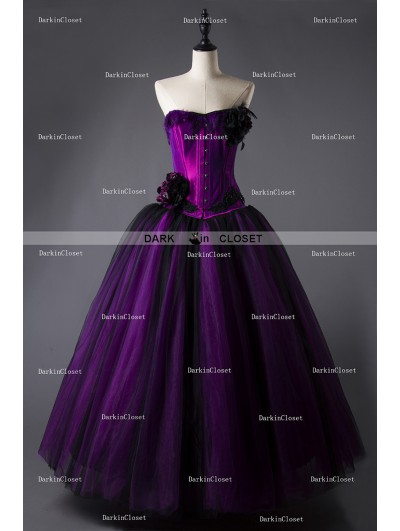 Rose Blooming Romantic Purple and Black Feather and Flower Gothic Corset Long Prom Dress